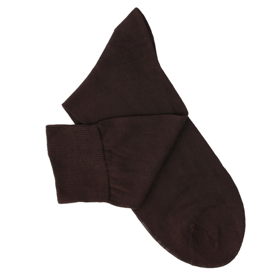 Brown Cotton Lisle Socks