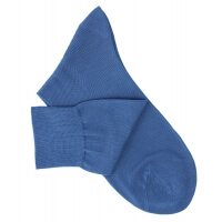 Chaussettes lisses fil d'Ecosse bleu vif