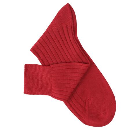 Chaussettes à côtes fil d'Ecosse rouge