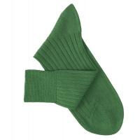 Chaussettes à côtes fil d'Ecosse vert jardin