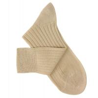 Chaussettes à côtes fil d'Ecosse beige