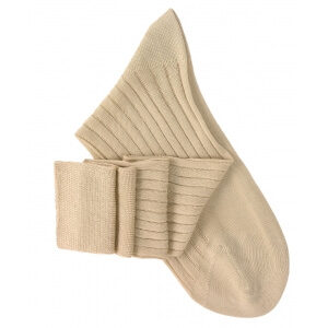 Beige Lisle Knee High Socks