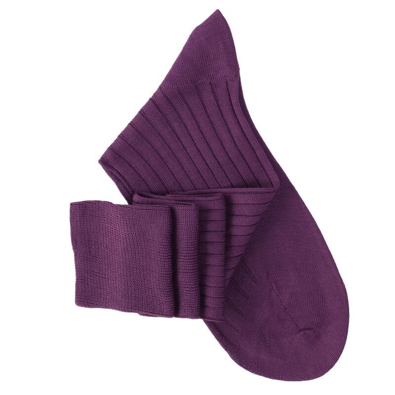 Mi-bas à côtes fil d'Ecosse violet