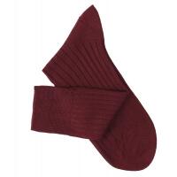 Chaussettes à côtes fil d'Ecosse bordeaux