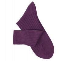 Chaussettes à côtes fil d'Ecosse violet