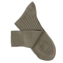 Chaussettes à côtes fil d'Ecosse gris taupe
