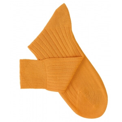 Chaussettes à côtes fil d'Ecosse jaune moutarde